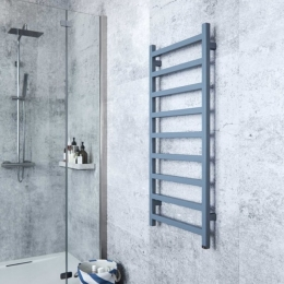 Anthracite towel rail really fitting in with this bathroom colour #towelrail #heating #mirrorpic #warmth #bathroominspo #bathroomideas #interiordesign #homedécor