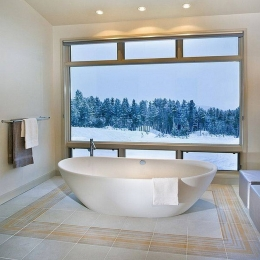 Who else would love to have a bath here #bathroom #bathroomrenovation #copper #bath #bathtime #hotel #spa #winter #snow #christmas